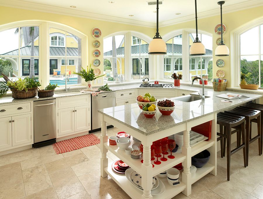 Counters bring gray in a subtle fashion to the tropical kitchen [Design: Andreozzi Architects]