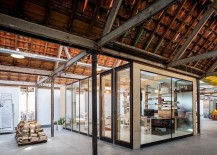 Cubic office structure offers visual connectivity with the space outside 217x155 Temporary Wooden Boxes or How to Survive an Old Factory Renovation