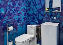 Custom backdrop steals the show in this powder room
