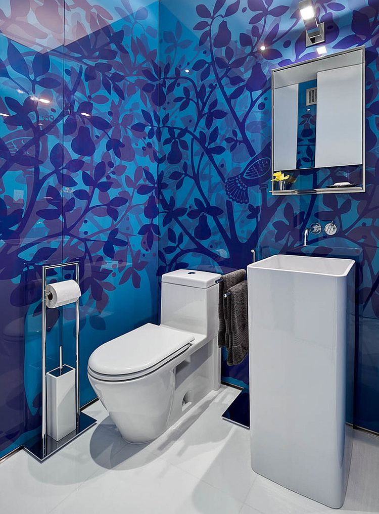 Custom backdrop steals the show in this powder room [Design: ORA Studio / Richard Cadan Photography]