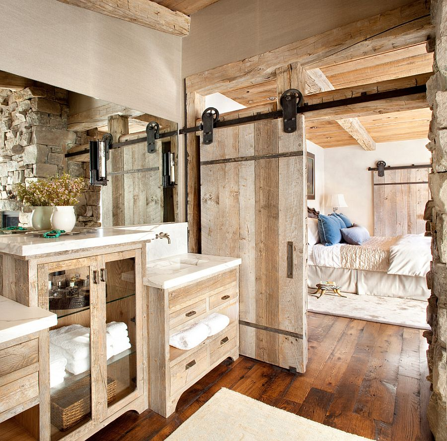 Custom barn door for the relaxed, rustic bathroom [Design: Peace Design]