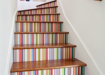 Custom-multi-color-striped-wallpaper-enlivens-the-stairway-217x155