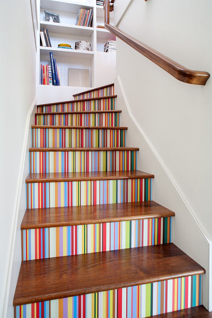 Custom Multi Color Striped Wallpaper Enlivens The Stairway Design JWT Associates
