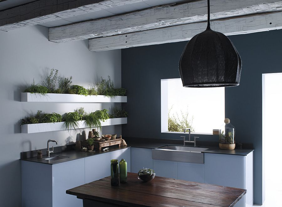 Custom shelves in the kitchen are perfect for a cool, indoor herb garden [Design: Kohler]