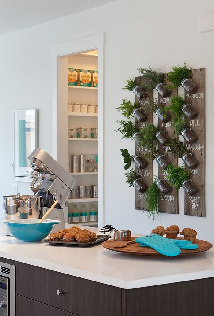View In Gallery DIY Herb Garden With Mason Jars For The Modern Home [Design:  Portico Design Group