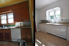 DIY molding added to the modern kitchen cabinets  8 Low-Cost DIY Ways to Give Your Kitchen Cabinets a Makeover DIY molding added to the modern kitchen cabinets 270x180