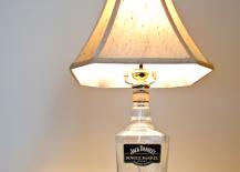 DIY recycled liquor bottle lamp