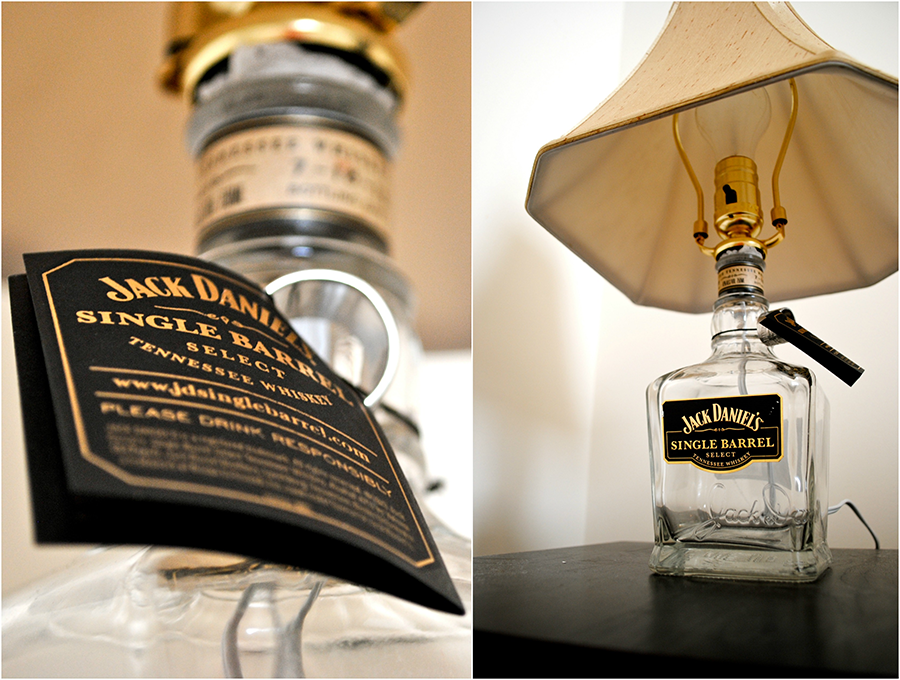 DIY recycled liquor lamp