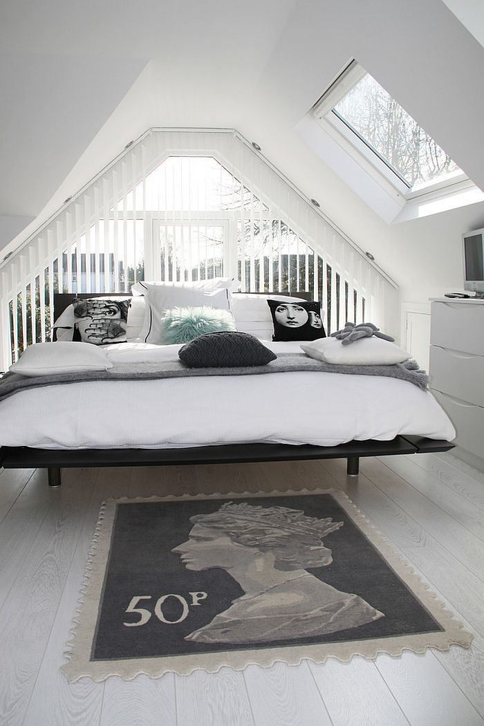 Dashing attic bedroom in black and white [Design: MODEL Projects]