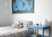 Decor brings blue to the cool Scandinavian bedroom