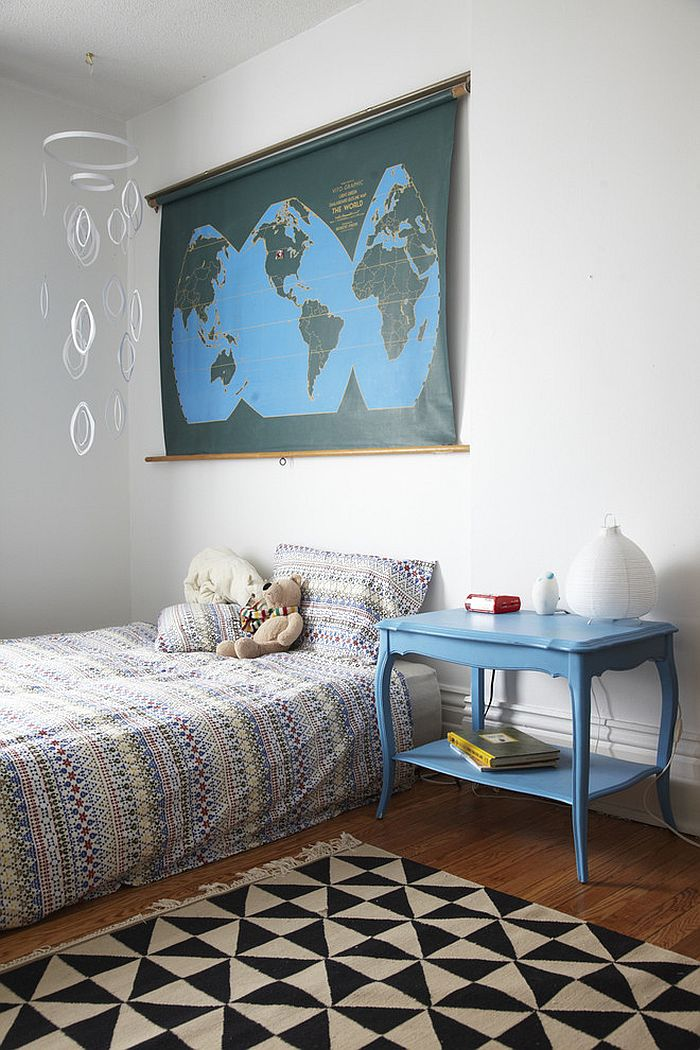 Decor brings blue to the cool bedroom [Design: Jenn Hannotte / Hannotte Interiors]