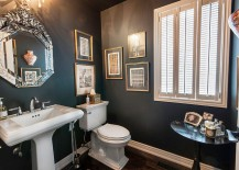 Decorate the powder room walls with framed art work