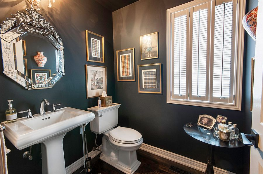 Decorate the powder room walls with framed art work [Design: Royal Home Improvements]