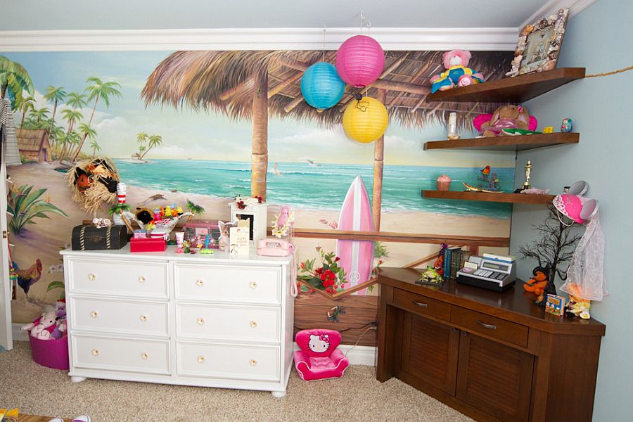 Decorating the tropical kids' bedroom with color and creativity