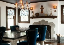 Dining table chairs bring a splash of blue to the dreamy setting