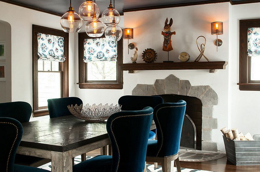 Dining table chairs add a splash of blue to the dreamy setting [Design: Karen B Wolf Interiors]