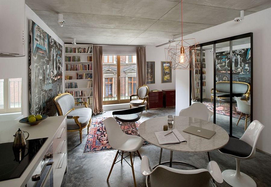 Ecelectic living room of the small contemporary apartment in Poland Small, Ingenious Apartment in Poland Draped in Eclectic Exuberance