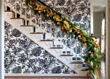 Eclectic-and-cheerful-backdrop-for-the-festive-staircase-217x155