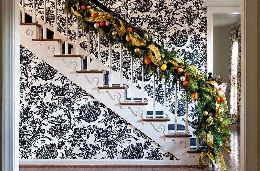 Eclectic and cheerful backdrop for the festive staircase [Design: Tobi Fairley Interior Design]