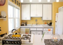 Eclectic kitchen in cheerful yellow with a hint of gray