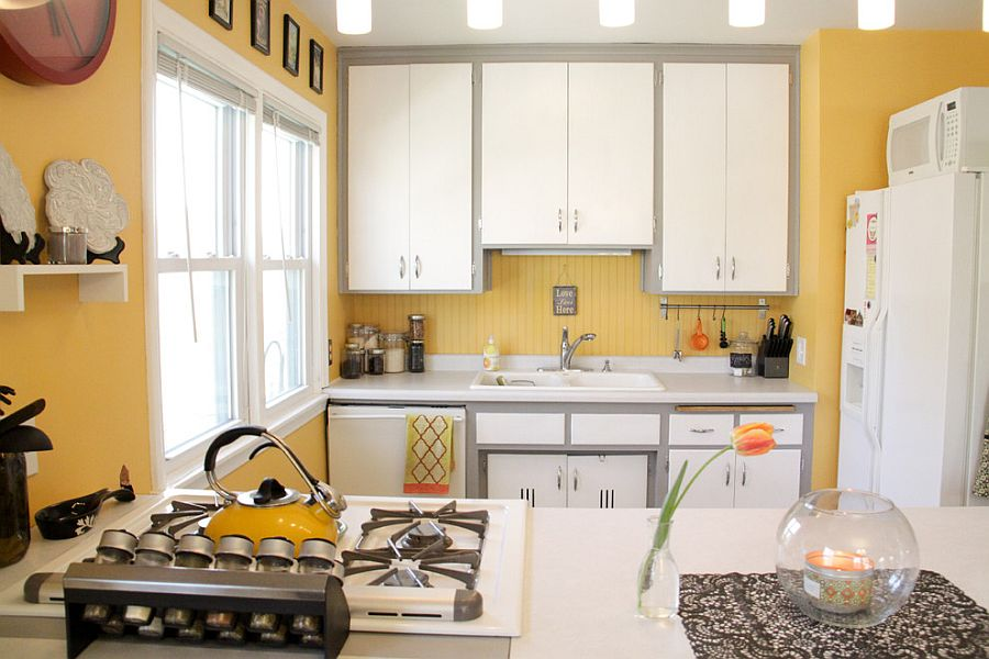Eclectic kitchen in cheerful yellow with a hint of gray [Photography: Kaia Calhoun]