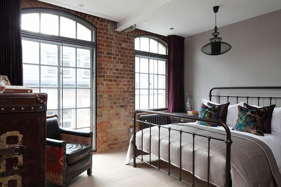 View In Gallery Elegant Bedroom With Brick Wall And Wrought Iron Bed Frame
