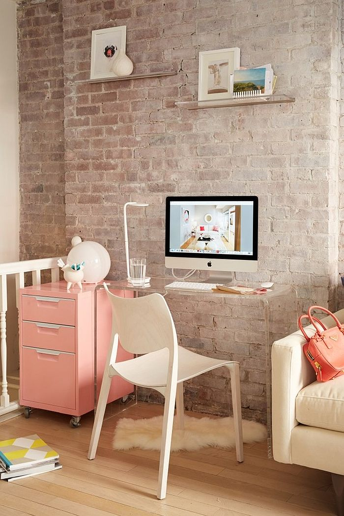 Elegant corner workspace saves up on precious square footage