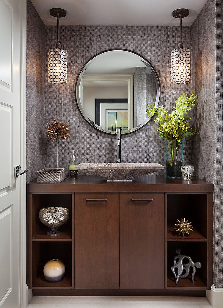 Powder Room Design Ideas 5 tags traditional powder room with cafe creme granite ceramic tile vessel sink wall sconce View In Gallery Elegant Powder Room Decorating Idea Design Insignia Design Group