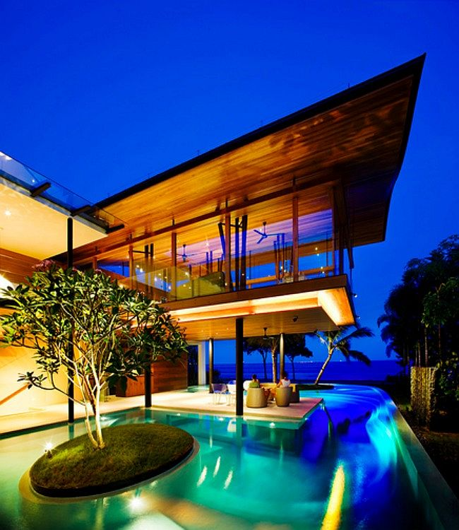 Exterior of the dramatic seaside home in Singapore