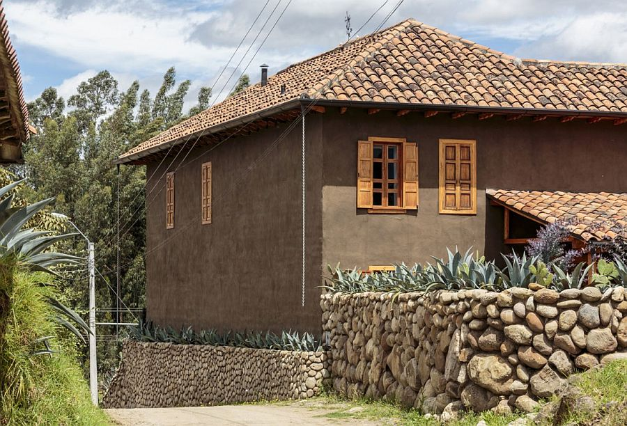 Exterior of the renovated home in Ecuador with a rustic appeal