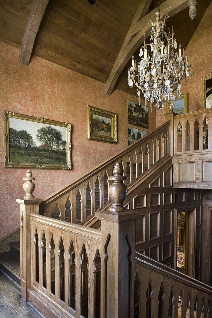 Fabulous wallpaper complements the hue of the wood around it beautifully [Design: Period Homes]