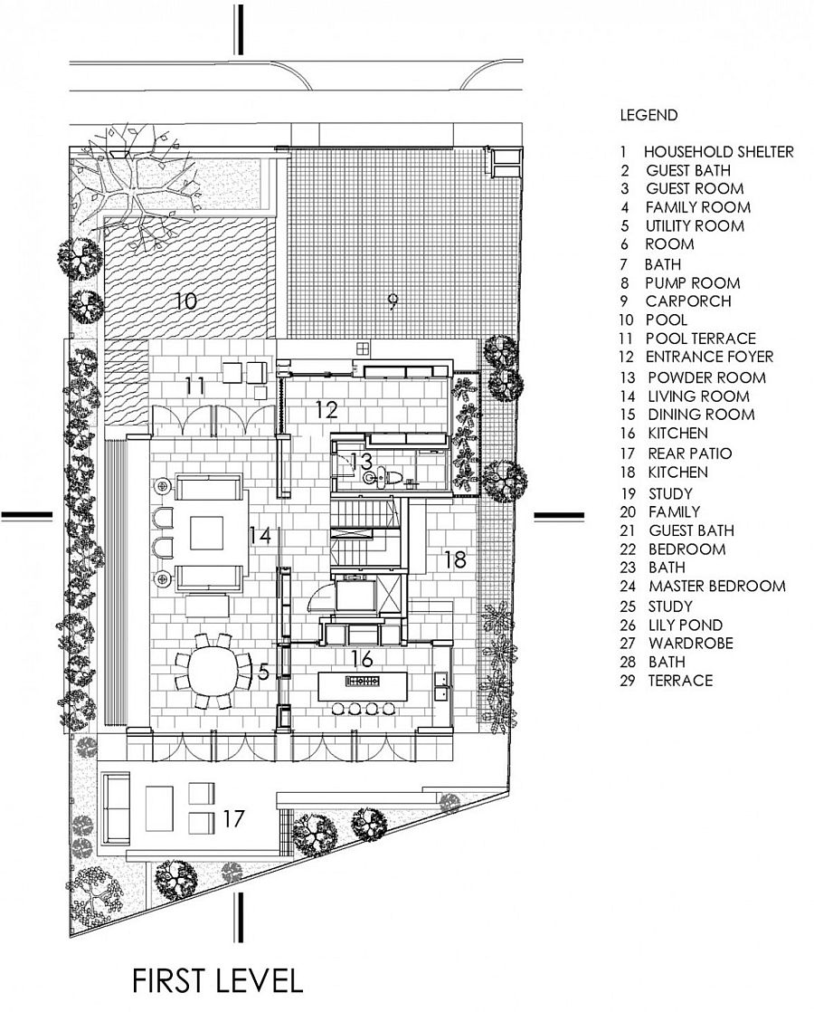 First level living area floor plan of the Chiltern House