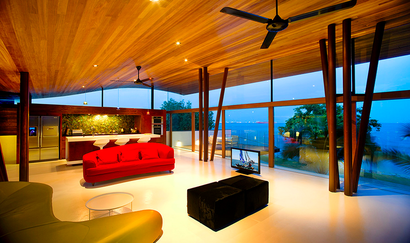 The outdoors is welcomed inside in this living room