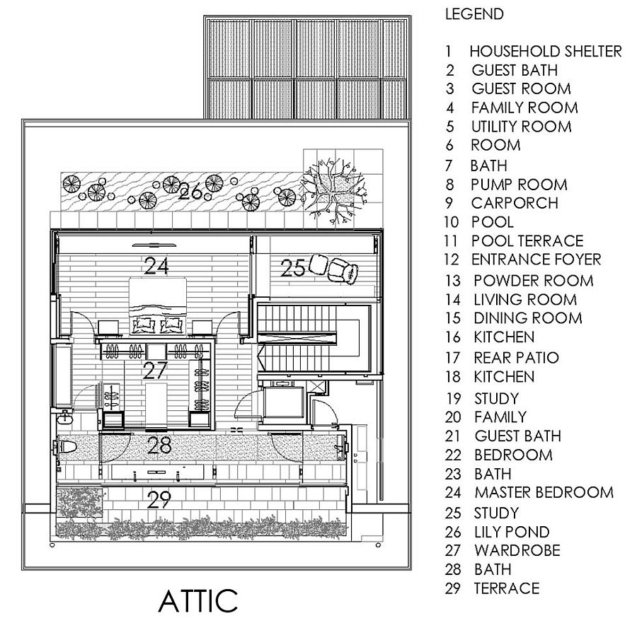 Floor plan of the attic level with Lily pond and master bedroom