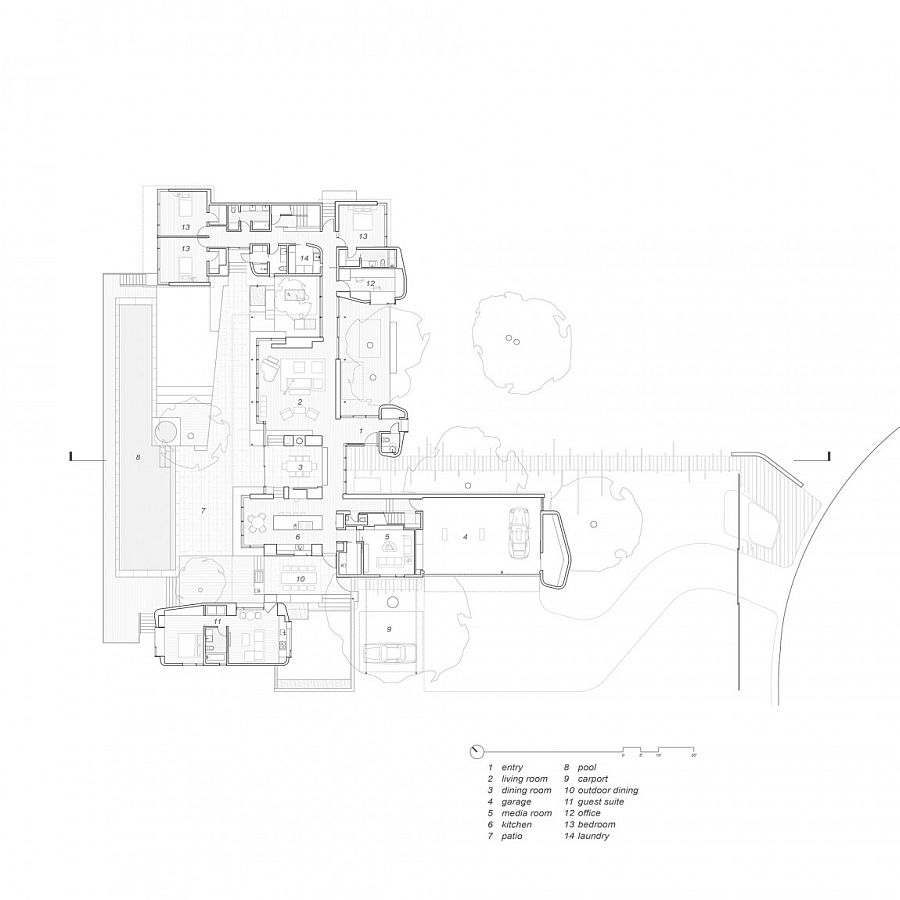 Floor plan of the lavish Lake View Residence in Austin, Texas