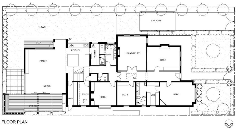 Floor plan of the renovated Melbourne home in East Malvern