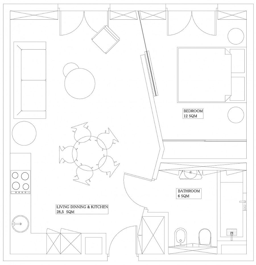 Floor plan of the tiny apartment in Krakow in Poland