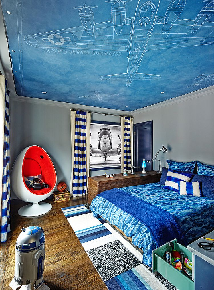 Fun contemporary kids' bedroom inspired by aviation! [Design: Staprans Design]