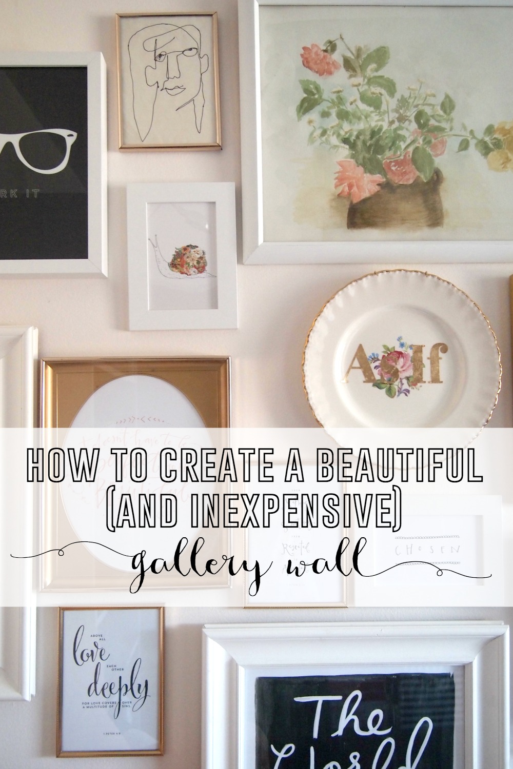 Gallery wall create one inexpensively How to Create a Beautiful and Inexpensive Gallery Wall