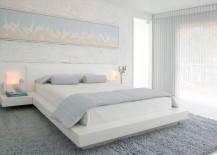 Gauzy white curtains in a modern bedroom 217x155 Easy, Breezy Summer House Style