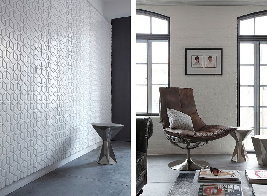 Geometric style of the decor and the wall covering bring uniqueness to the space