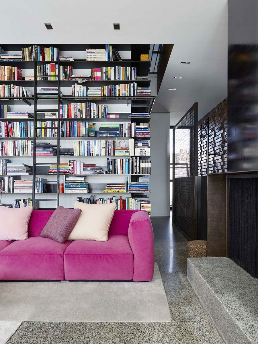 Giant Wall Of Books Steals The Show In This Exquisite Melbourne Living Room Warehouse Inspired
