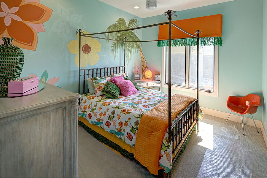 Girl's bedroom inspired by relaxed island life [Design: Robin Bond Interiors]