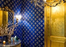 Glamorous powder room in blue and gold