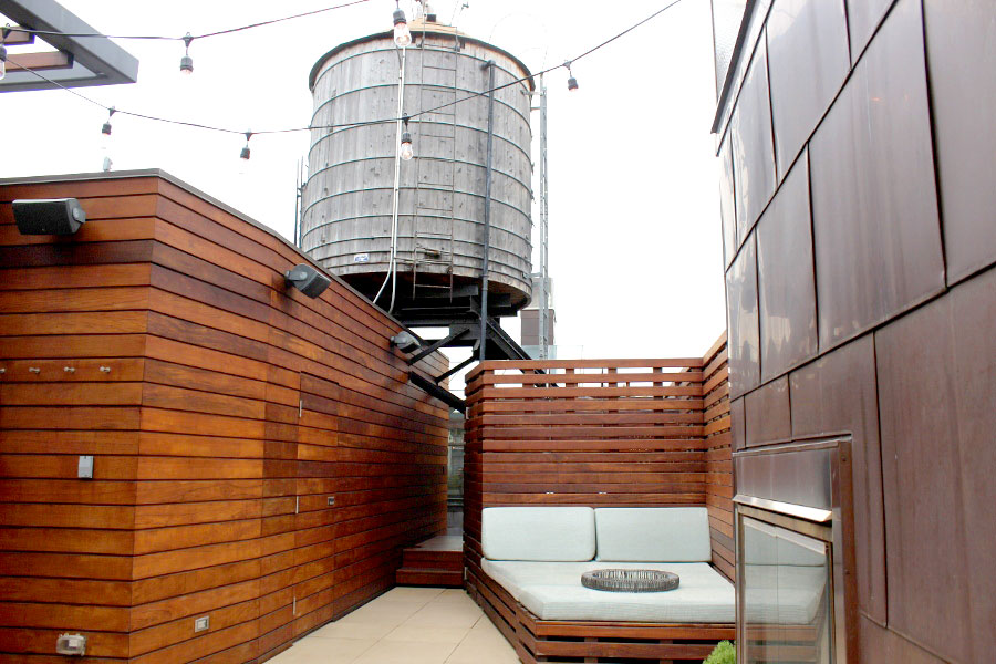Glass Atrium and Water Tower Rooftop