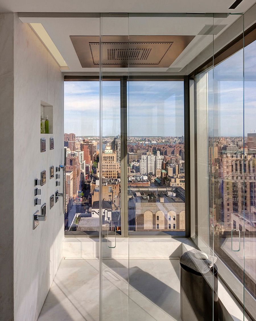 Glass shower area of the Collector's Residence in New York