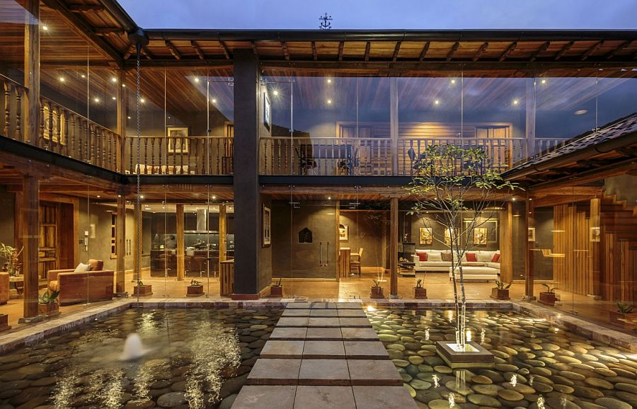 Glass walls connect the interior with the spellbinding courtyard