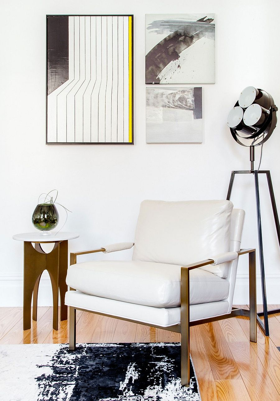 Gorgeous and unique tripod floor lamp  in the corner