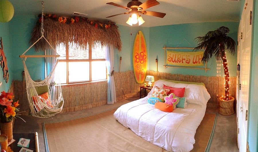 Gorgeous kids' bedroom brings home the tropical style in a delightful fashion [Design: DeZignsByD]