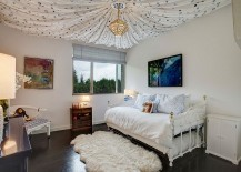 Gorgeous kids' bedroom with ceiling drapery that steals the show!